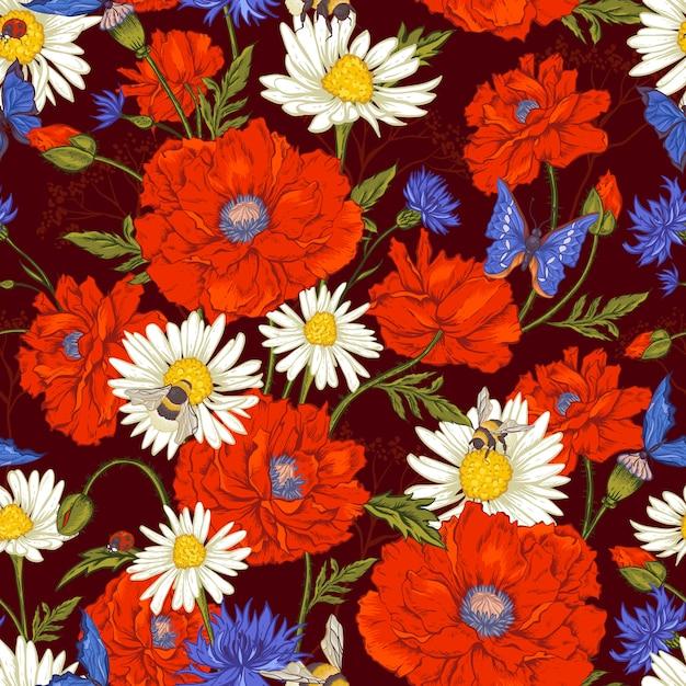 Estate vintage floral pattern senza soluzione di continuità con papaveri rossi in fiore camomilla coccinella e margherite fiordalisi bumblebee bee e farfalle blu. Vettore Premium