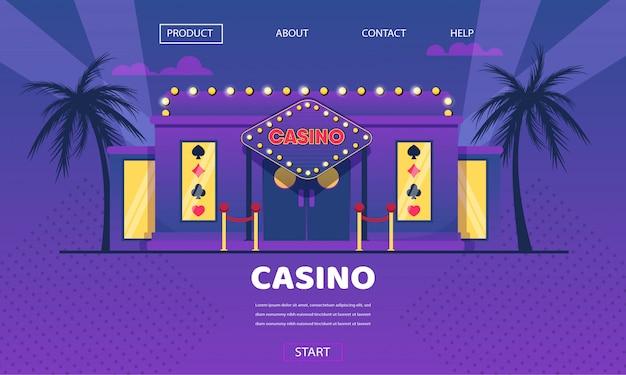 Esterno di luci al neon oro gioco d'azzardo casa casinò Vettore Premium