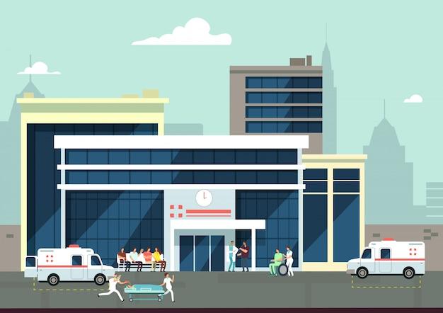Esterno di un ospedale per incidenti e di emergenza con medici e pazienti. concetto di vettore medico Vettore Premium