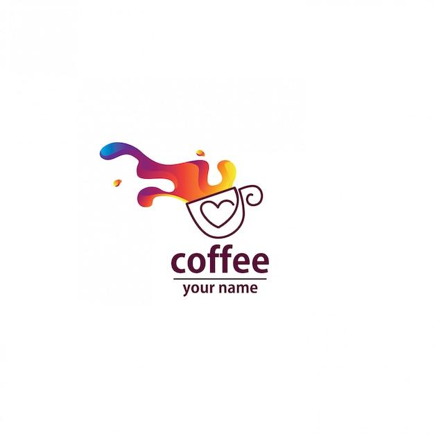 Estratto dell'onda del caffè di logo variopinto Vettore Premium