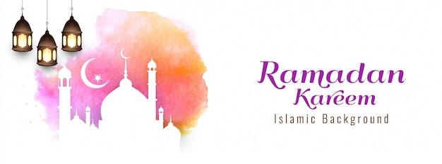 Estratto disegno religioso banner ramadan kareem Vettore gratuito