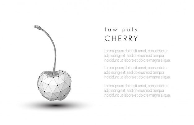 Estratto low poly in bianco e nero ciliegia Vettore Premium