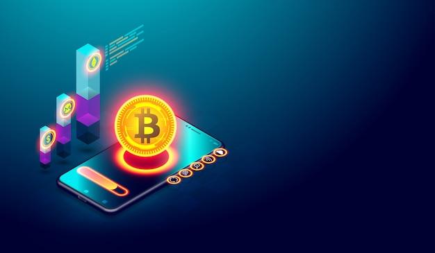Estrazione di bitcoin e investimenti nel mercato monetario digitale Vettore Premium