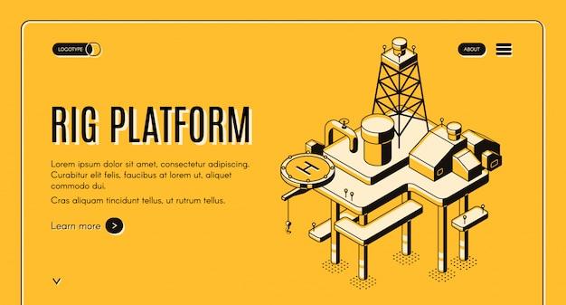 Estrazione di petrolio sul mare e banner web mensola continentale con impianto di perforazione offshore Vettore gratuito
