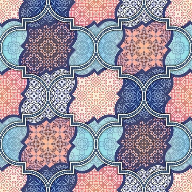 Ethnic floreale seamless abstract pattern ornamentale Vettore gratuito