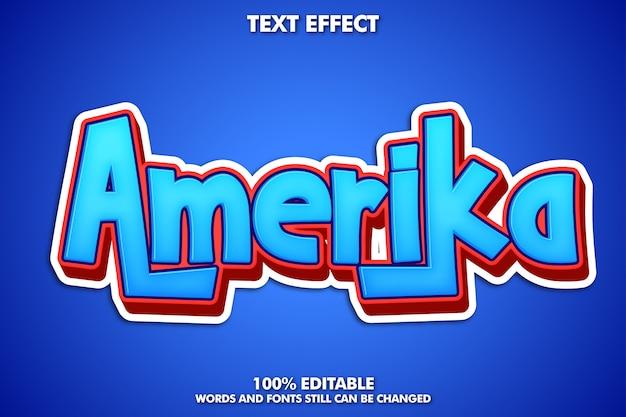 Etichetta adesiva amerika, effetto testo editabke del fumetto Vettore gratuito