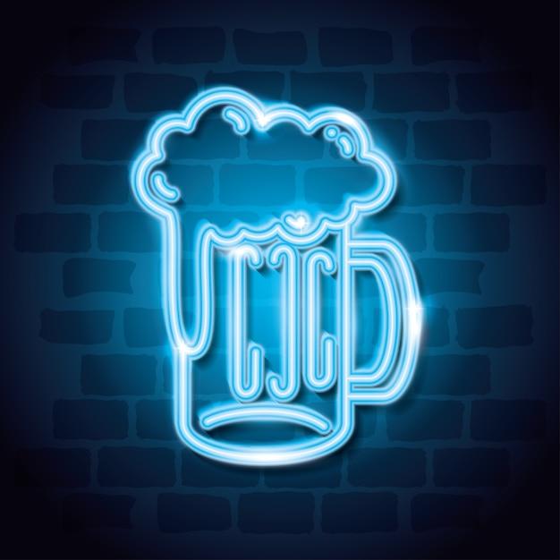 Etichetta al neon drink beer Vettore Premium