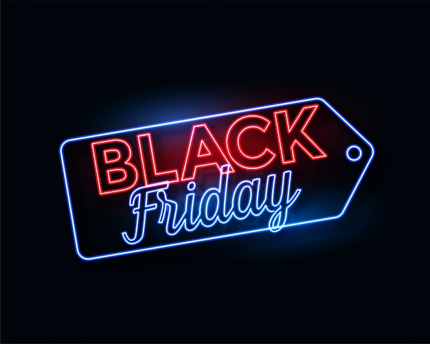 Etichetta black friday in luci al neon incandescente Vettore gratuito
