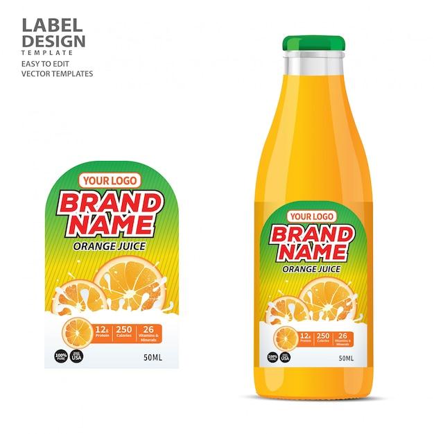 Etichetta bottiglia design modello di confezione Vettore Premium