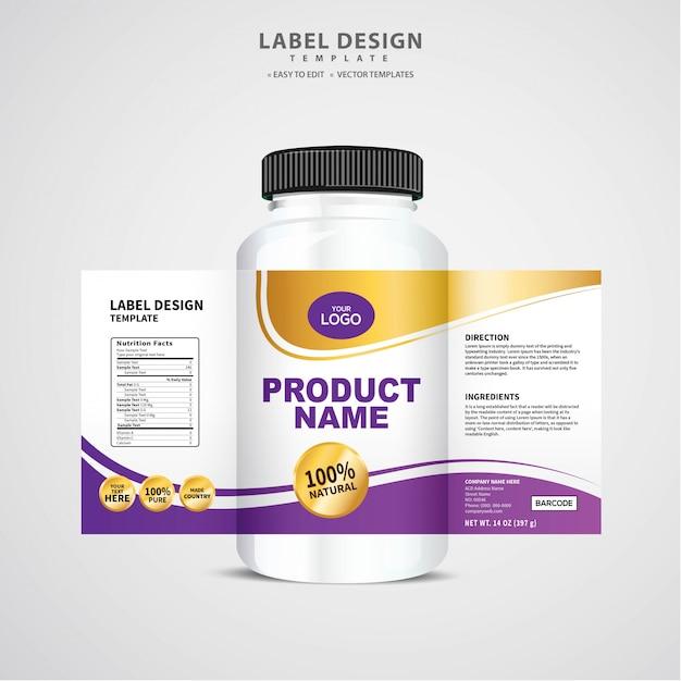 Etichetta bottiglia, modello di pacchetto design, etichetta design, mock up modello di etichetta di design Vettore Premium