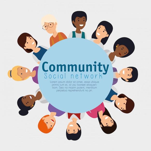 Etichetta con le persone comunità e messaggio sociale Vettore gratuito