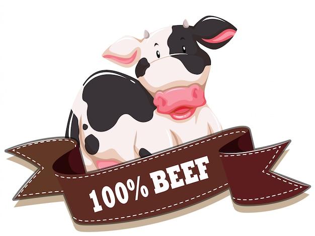 Etichetta con mucca e nastro Vettore gratuito