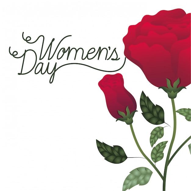 Etichetta del giorno delle donne con l'icona isolata rose Vettore Premium