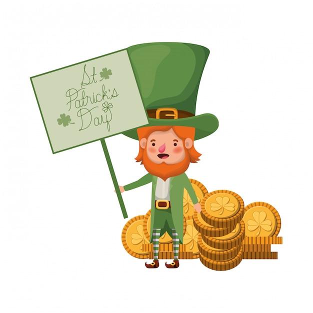 Etichetta del giorno st patricks con personaggio leprechaun Vettore Premium