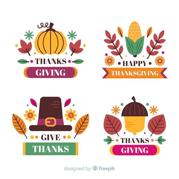 Etichetta del ringraziamento con testo di auguri Vettore gratuito