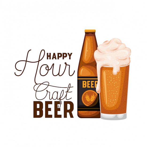 Etichetta della birra artigianale happy hour con icona della bottiglia Vettore Premium