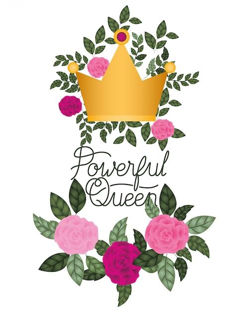 Etichetta della regina potente con icona isolata di rose Vettore Premium