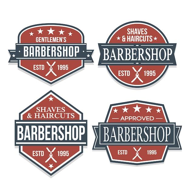 Etichetta di colore di disegno di marchio di autoadesivo del negozio di barbiere retro Vettore Premium