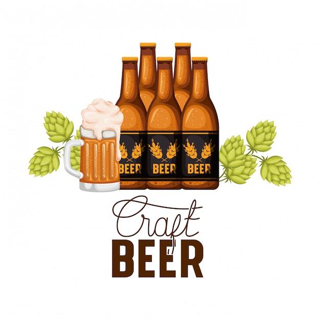 Etichetta di happy hour birra fredda con icona della bottiglia Vettore Premium