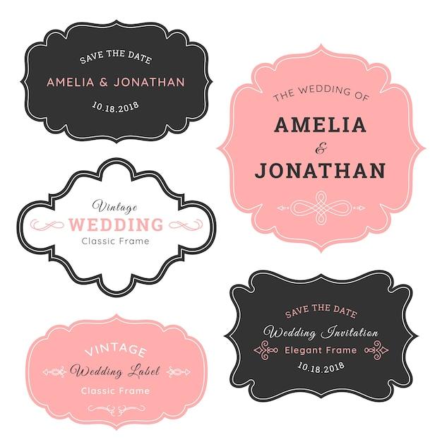 Etichetta di nozze dell'annata Vettore gratuito