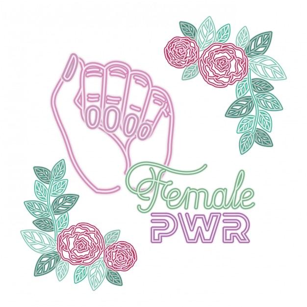 Etichetta di potenza femminile con mano in icone di segnale di lotta Vettore Premium