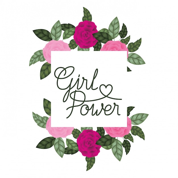 Etichetta di potenza ragazza con icone cornice rose Vettore Premium