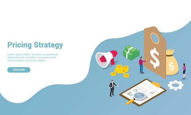 Etichetta di strategia di prezzi con finanza dei soldi e grafico per il modello di sito web o l'homepage di destinazione Vettore Premium