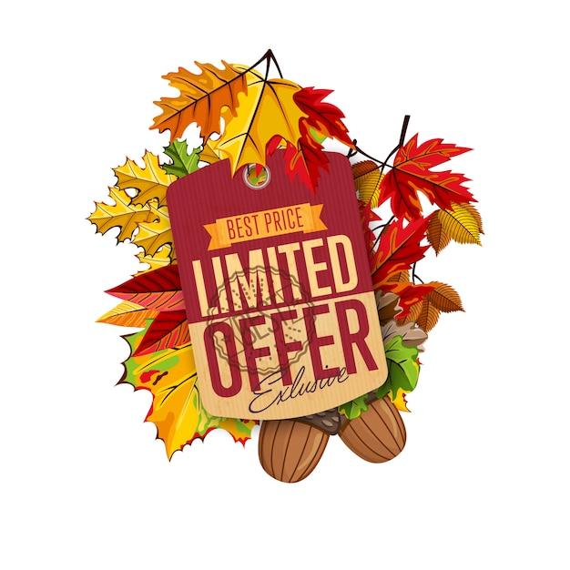 Etichetta di vendita autunno Vettore Premium