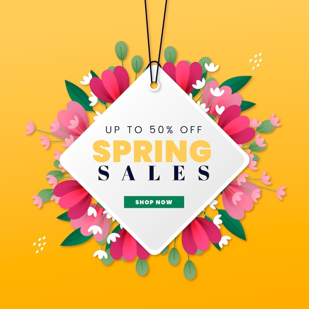 Etichetta di vendita di primavera con appendiabiti e fiori Vettore gratuito