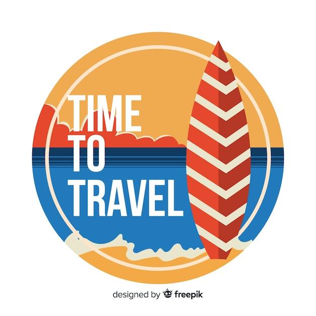 Etichetta di viaggio vintage design piatto Vettore gratuito
