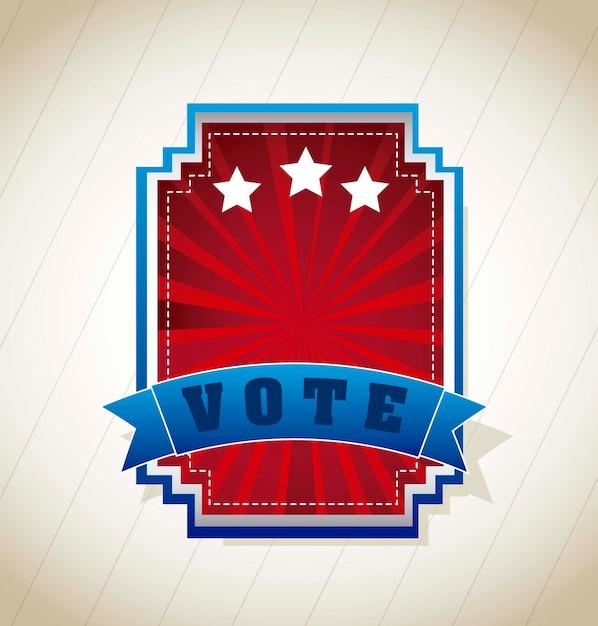 Etichetta di voto sopra illustrazione vettoriale sfondo vintage Vettore Premium