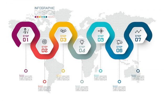 Etichetta esagono con infografica collegata a linee colorate. Vettore Premium
