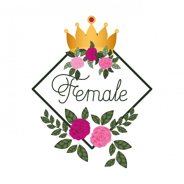 Etichetta femminile con icone cornice rose Vettore Premium