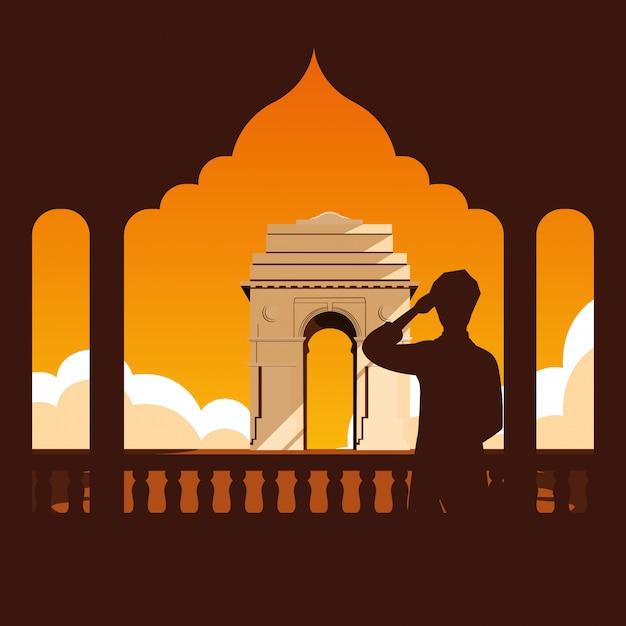 Etichetta indiana festa dell'indipendenza con uomo e strutture Vettore Premium