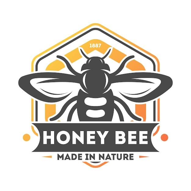 Etichetta isolata annata dell'ape del miele Vettore Premium
