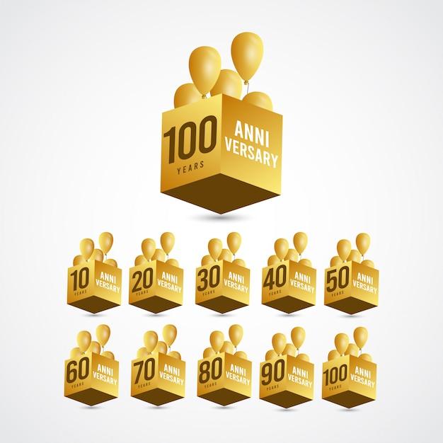 Etichetta logo template design illustration dell'oro 3 di celebrazione di anniversario di 100 anni Vettore Premium