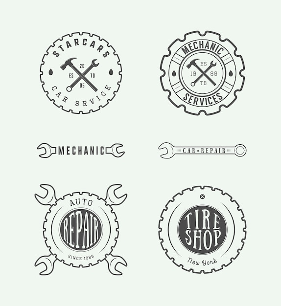 Etichetta meccanica, emblema Vettore Premium