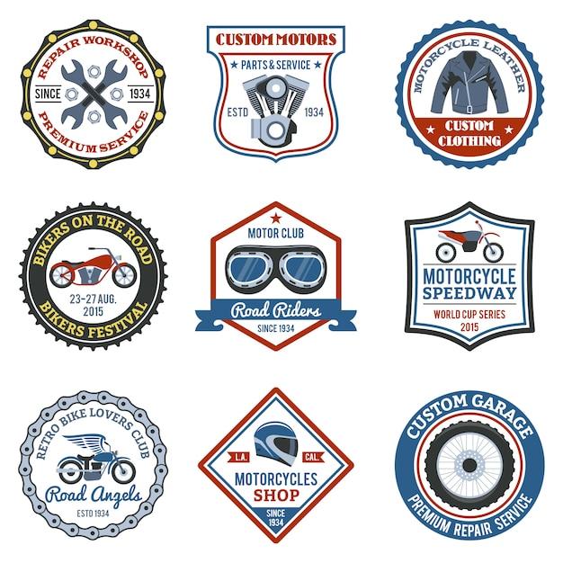 Etichetta moto colorata Vettore gratuito