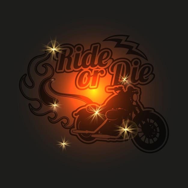 Etichetta moto d'epoca. sfondo lucido moto Vettore Premium