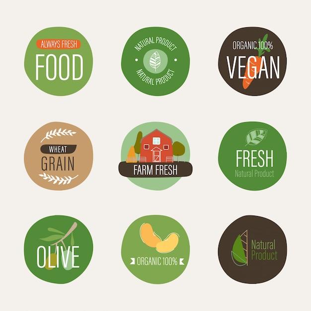 Etichetta naturale e agricoltura organica fresca della bandiera. Vettore Premium