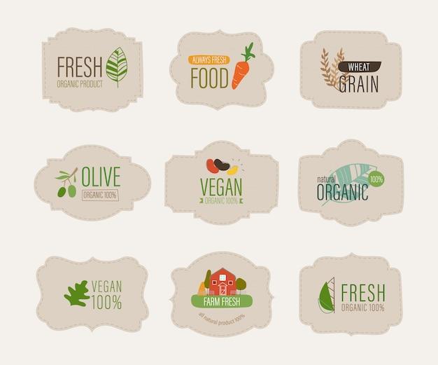 Etichetta naturale e banner organico fresco. Vettore Premium