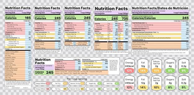 Etichetta nutrizionale. illustrazione. set di tabelle informazioni sugli alimenti. Vettore Premium