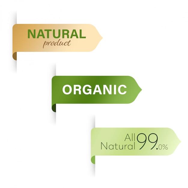 Etichetta organica e design del banner etichetta verde naturale Vettore Premium
