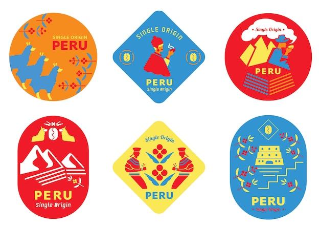 Etichetta per caffè perù monorigine con popolazione locale Vettore Premium