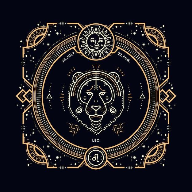 Etichetta segno zodiacale leone linea sottile vintage. simbolo astrologico retrò, elemento mistico, geometria sacra, emblema, logo. illustrazione di contorno del colpo. Vettore Premium
