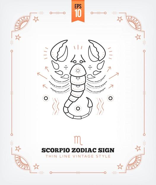 Etichetta segno zodiacale scorpione vintage linea sottile. simbolo astrologico retrò, elemento mistico, geometria sacra, emblema, logo. illustrazione di contorno del colpo. isolato su bianco Vettore Premium