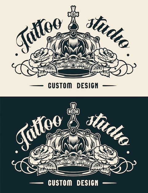 Etichetta studio tatuaggio vintage Vettore gratuito
