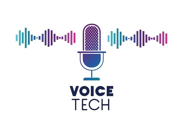 Etichetta tecnica vocale con microfono e onda sonora Vettore Premium