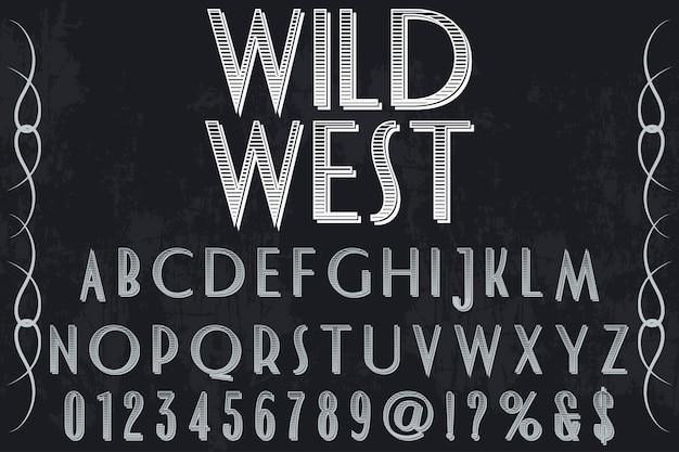 Etichetta vintage carattere design selvaggio west Vettore Premium