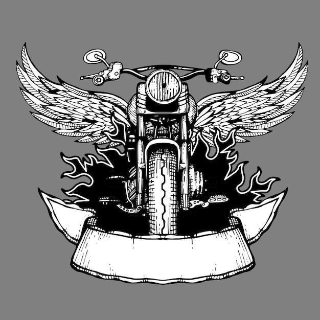 Etichetta vintage da motociclista, emblema, logo, badge con moto Vettore Premium